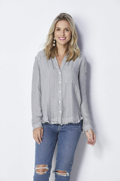 Bella Dahl Striped Rounded Yoke Button Down - Front