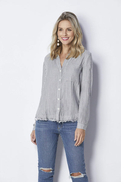 Bella Dahl Striped Rounded Yoke Button Down -Front