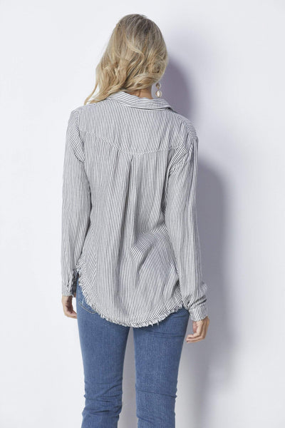 Bella Dahl Striped Rounded Yoke Button Down - Back