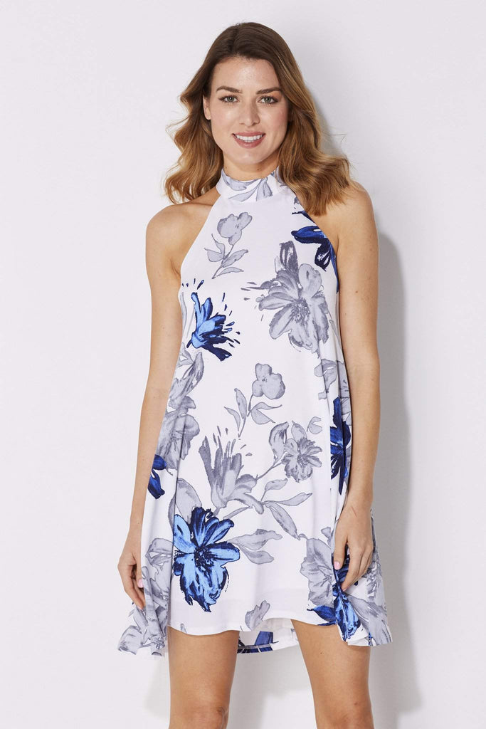 Gray and Blue Floral Print Dress