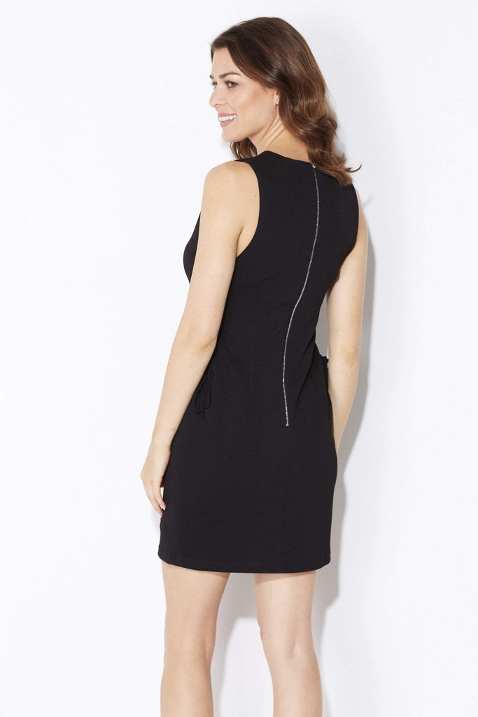 Endless Rose - Black Lace Up Dress - rear