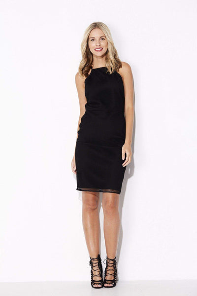 Endless Rose - Black High Neck Mesh Dress - front