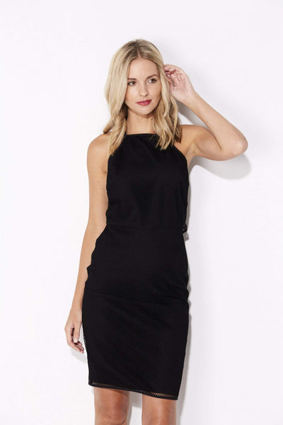 Black High Neck Mesh Dress