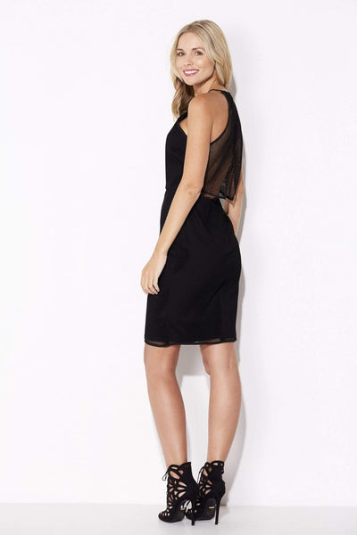 Endless Rose - Black High Neck Mesh Dress - rear