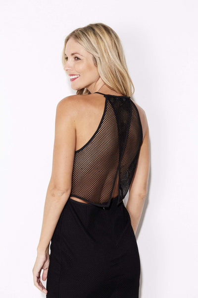 Endless Rose - Black High Neck Mesh Dress - rear, closer up
