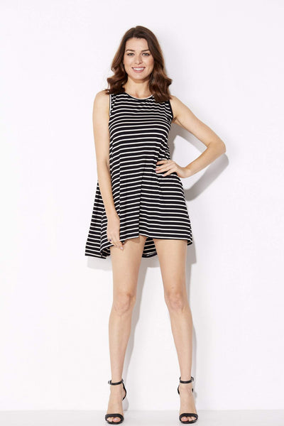 Bishop + Young - Black Stripe Cape Dress - front