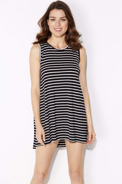 Black Stripe Cape Dress