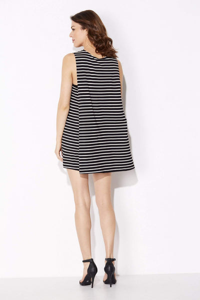 Bishop + Young - Black Stripe Cape Dress - rear