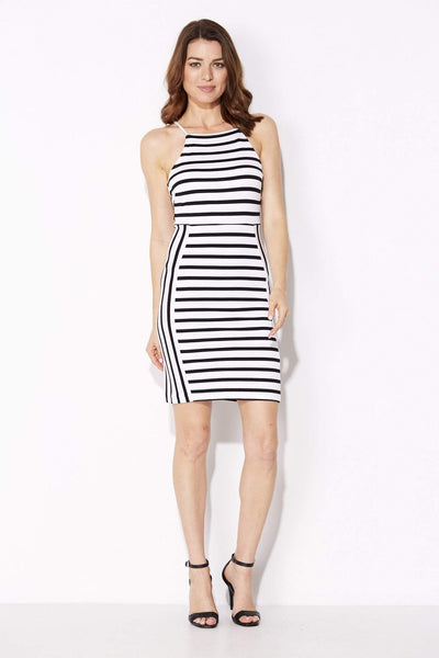 White and Black Stripe Dress - White and Black Stripe Dress - front