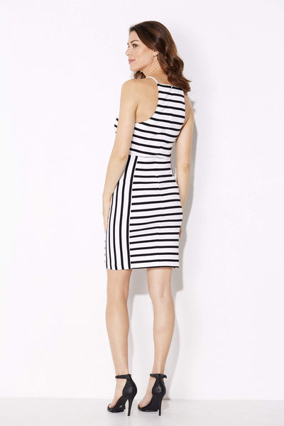 White and Black Stripe Dress - White and Black Stripe Dress - rear