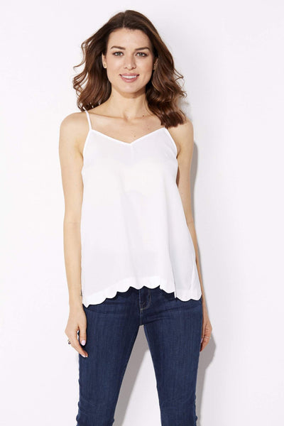 Very J - Scalloped Split Back Tank - front, closer up