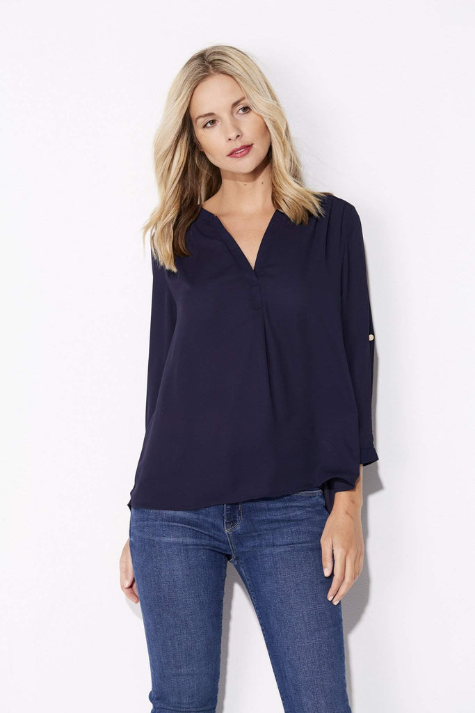 Navy 3/4 Sleeve Blouse