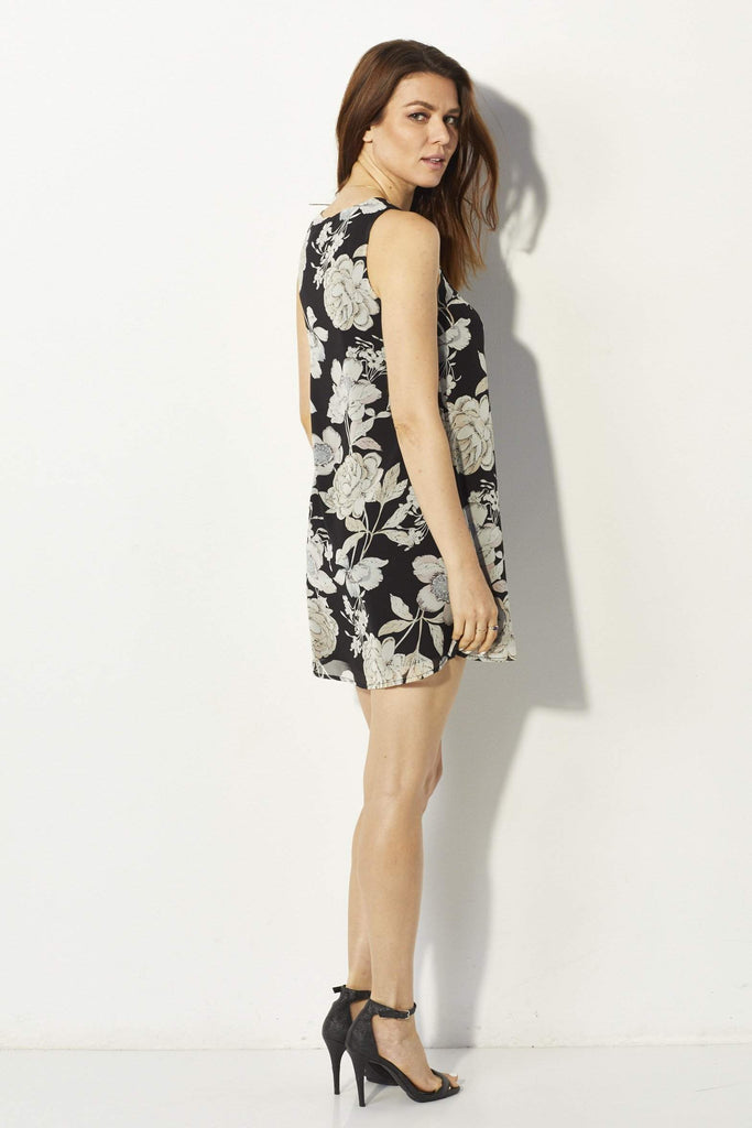 Lucca Couture Lace Up Floral Dress - Back