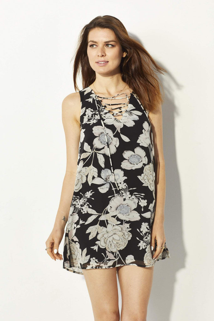 Lucca Couture Lace Up Floral Dress - Front