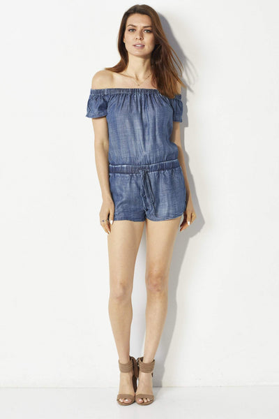 Laju Dark wash chambray romper -  Front