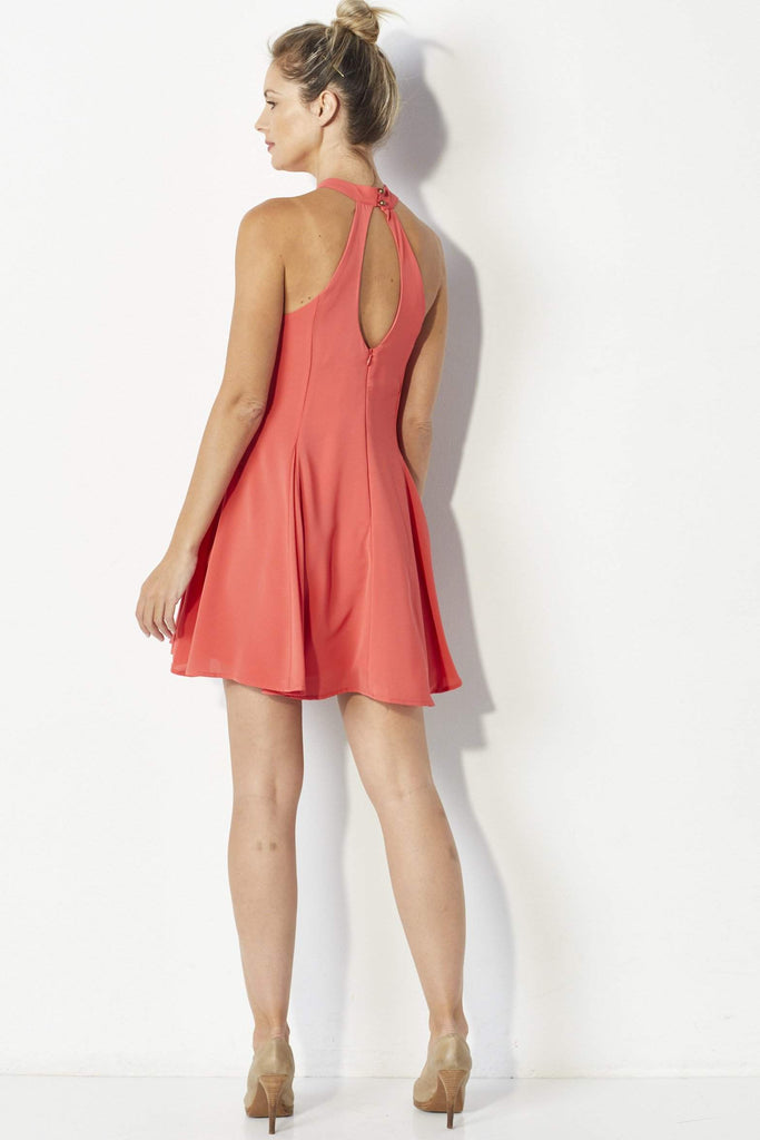 Mabel Coral swing dress - Back
