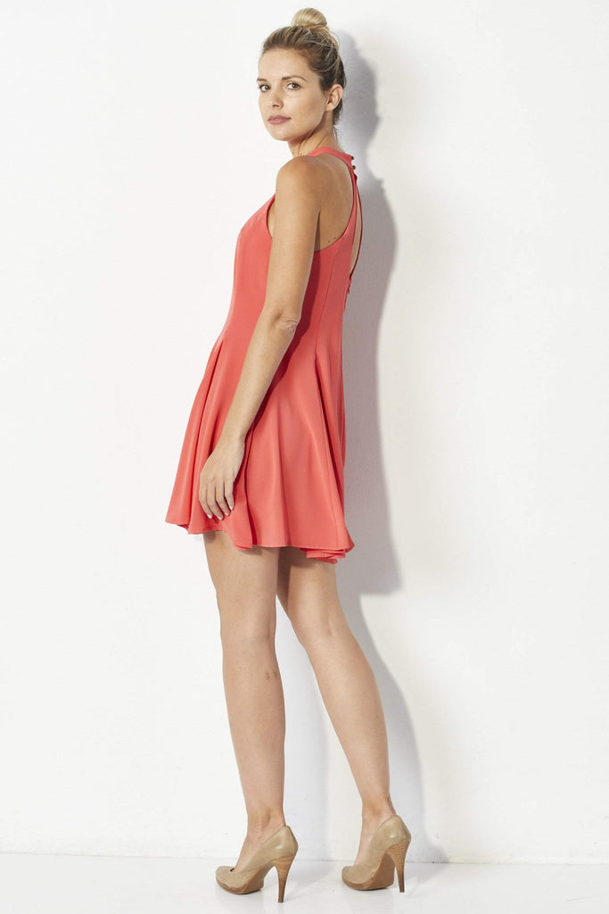 Mabel Coral swing dress -Side