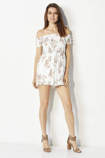 Sadie and Sage Floral off the shoulder romper - Front