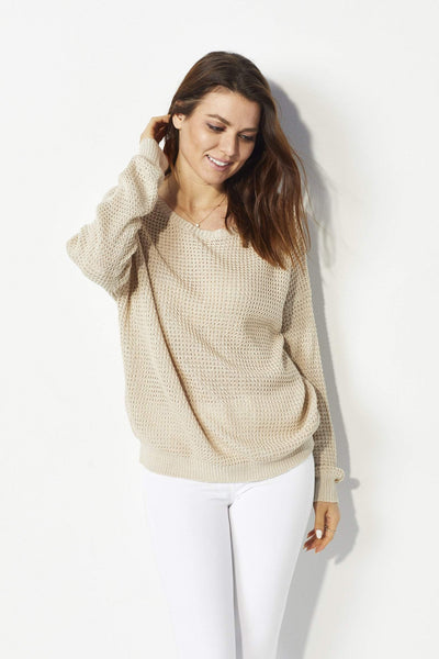 Wishlist Tan lace up knit sweater - Front