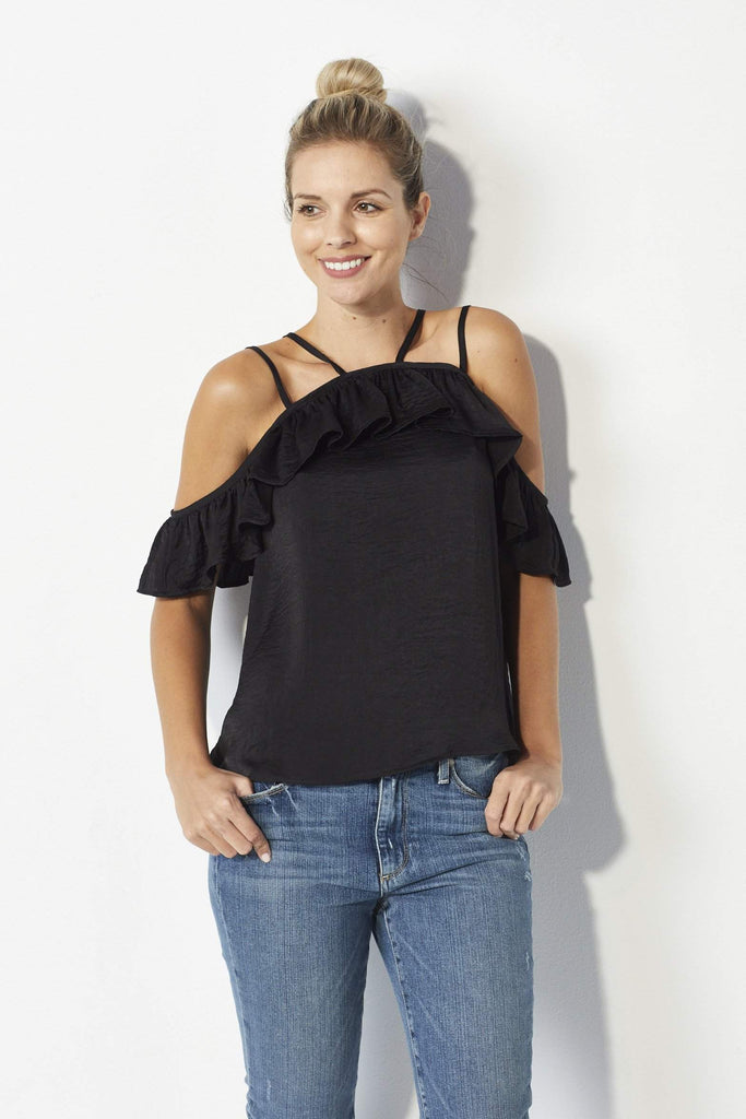 Lucca Couture Black satin ruffle top - Front
