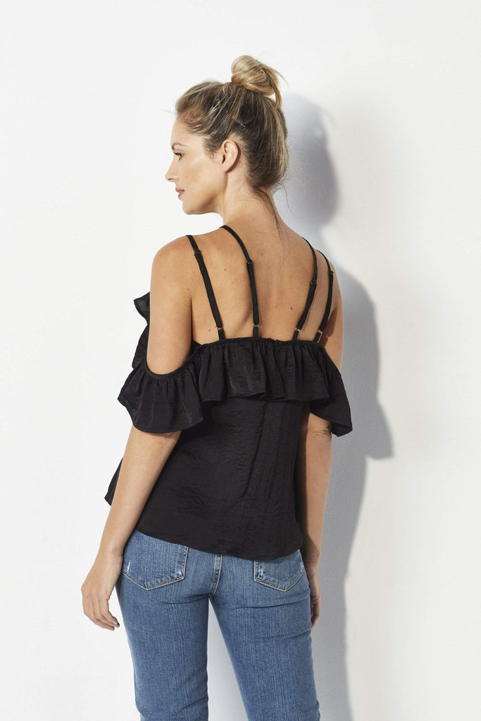 Lucca Couture Black satin ruffle top - Back