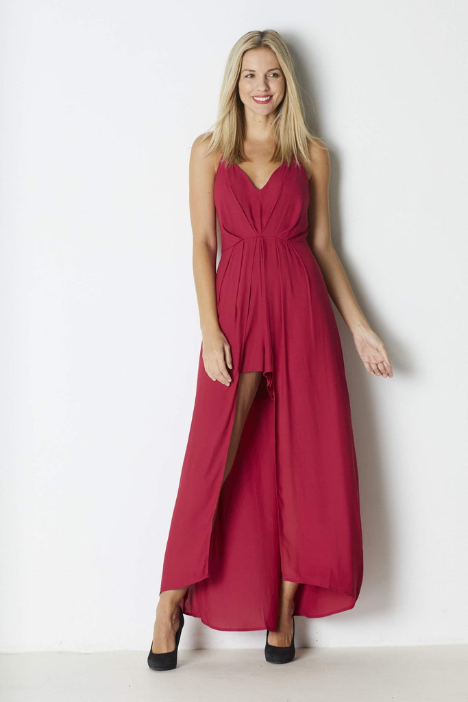 Lush Berry Maxi Romper - Front