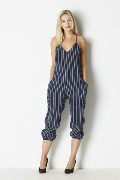 Dress Forum Navy Striped Jumpsuit - Front