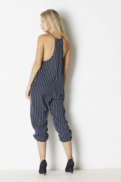 Dress Forum Navy Striped Jumpsuit - Back