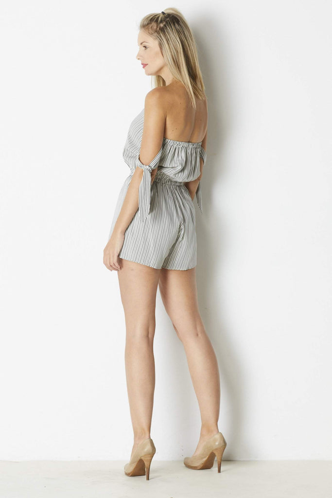 Dress Forum Knotted Sleeve Romper - Back