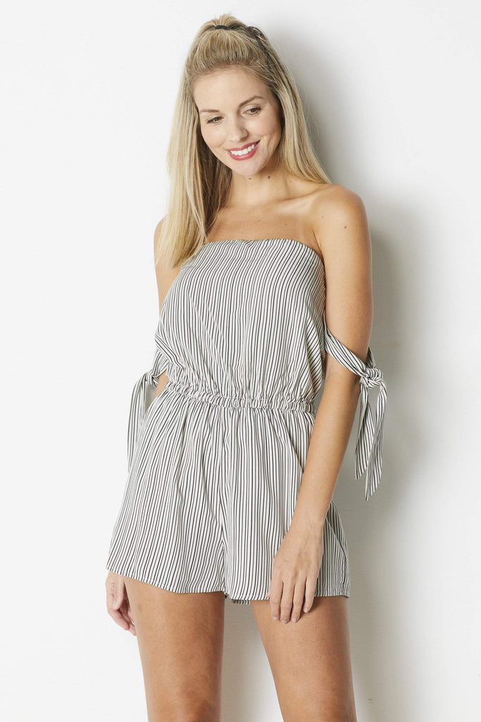 Dress Forum Knotted Sleeve Romper - Front
