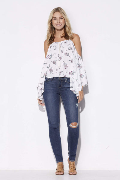 Bishop + Young - Cold Shoulder Floral Top - front