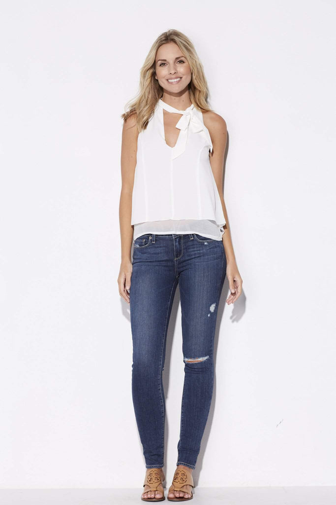 Bishop + Young - White High Neck Tie Top - front