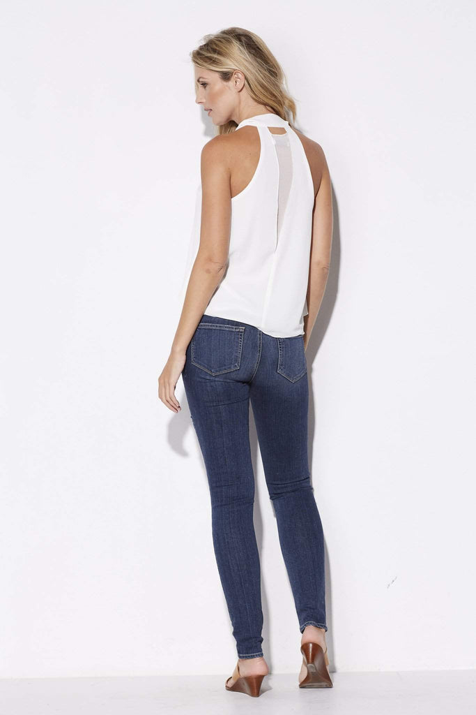 Bishop + Young - White High Neck Tie Top - rear