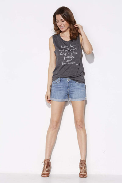 written - Beach Days Gray Muscle Tank - front