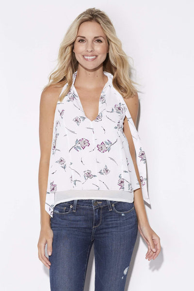 Bishop + Young - White Floral Tie Neck Top