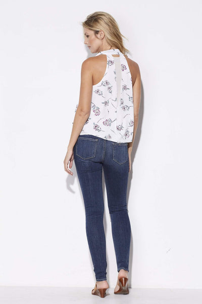 Bishop + Young - White Floral Tie Neck Top - rear