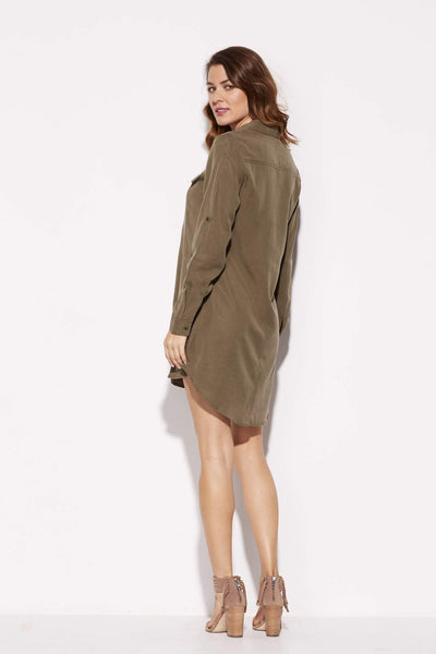 Olive Tencel Lace-up Dress