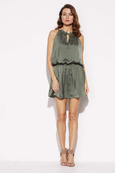 BB Dakota - Olive High Neck Silk Dress - front