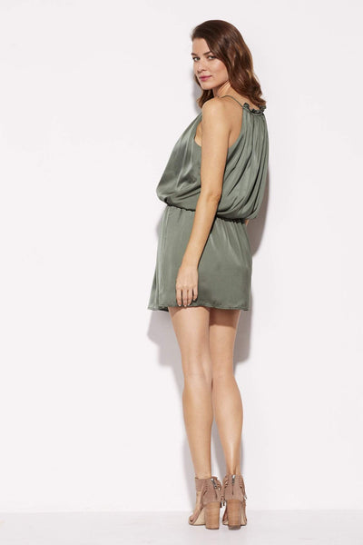 BB Dakota - Olive High Neck Silk Dress - rear