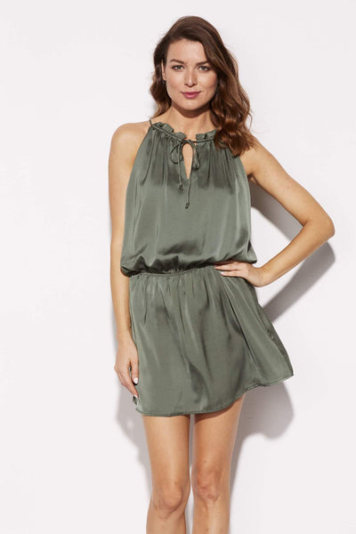 BB Dakota - Olive High Neck Silk Dress