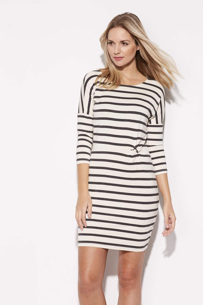 Ivory and Gray Stripe Dress