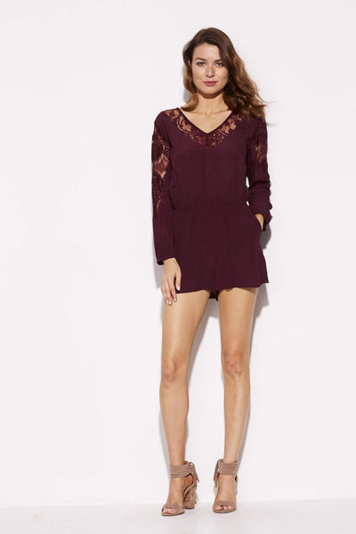 BB Dakota - Wine Lace Romper - front