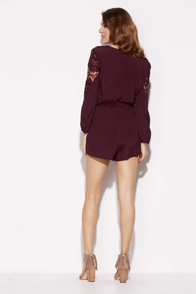 BB Dakota - Wine Lace Romper - rear