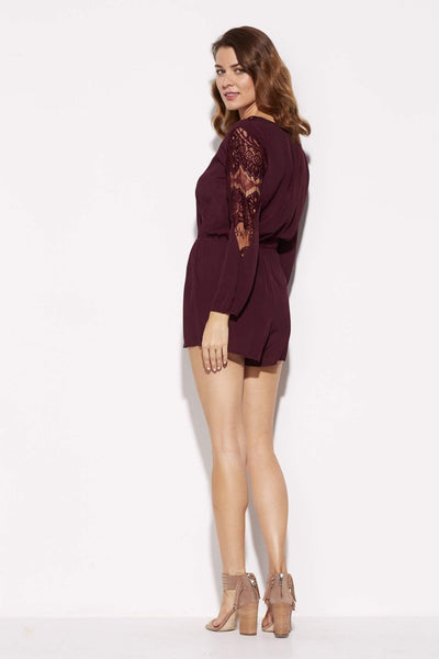 BB Dakota - Wine Lace Romper - side