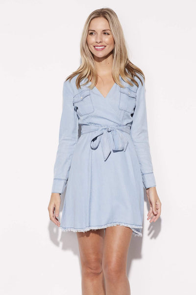 Chambray Fringe Wrap Dress