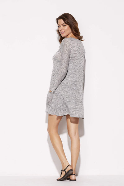 Gray Ribbed Knit Dress