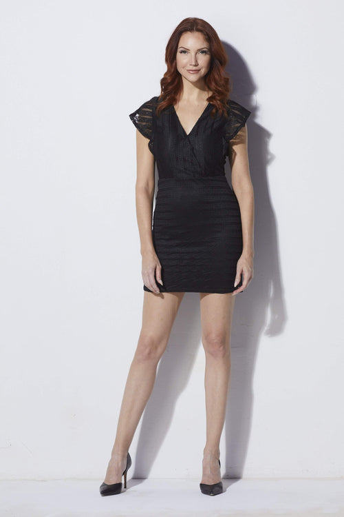 J.O.A Black Woven Dress - Front