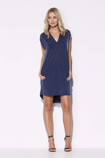 Navy V-Neck Hi-Lo Dress