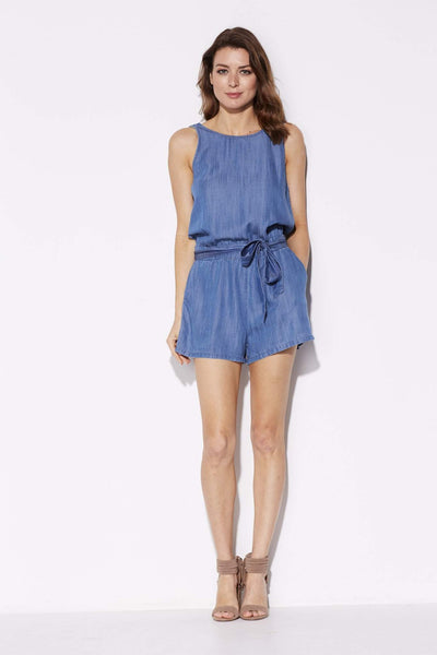 laju - Low Back Chambray Romper - front