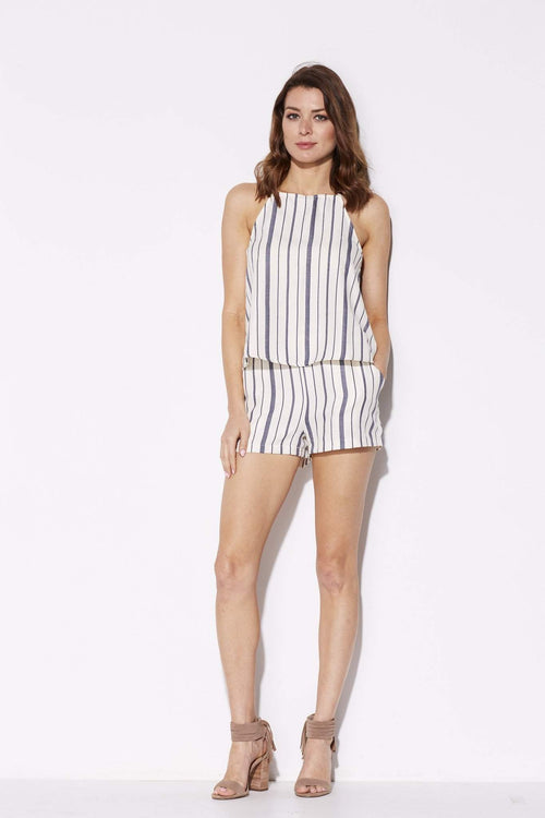Everly - Blue Pinstripe Shorts - front
